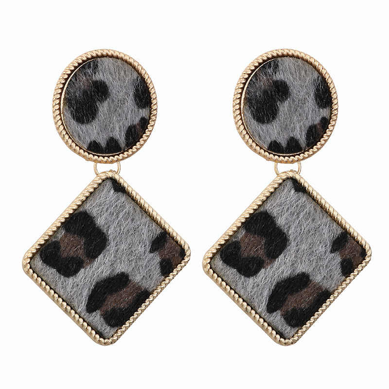 Trend Women Brand Design Za Leopard Geometric Square Metal Dangle Drop Earringsfashion Female Party Jewelry Pendientes