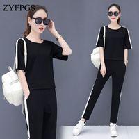 ZYFPGS 2019 Summer Tops Tracksuit For Women One Color 2 Piece Set Women Sweatshirt 4XL Shorts Fashion Brand Design Sales Z0714