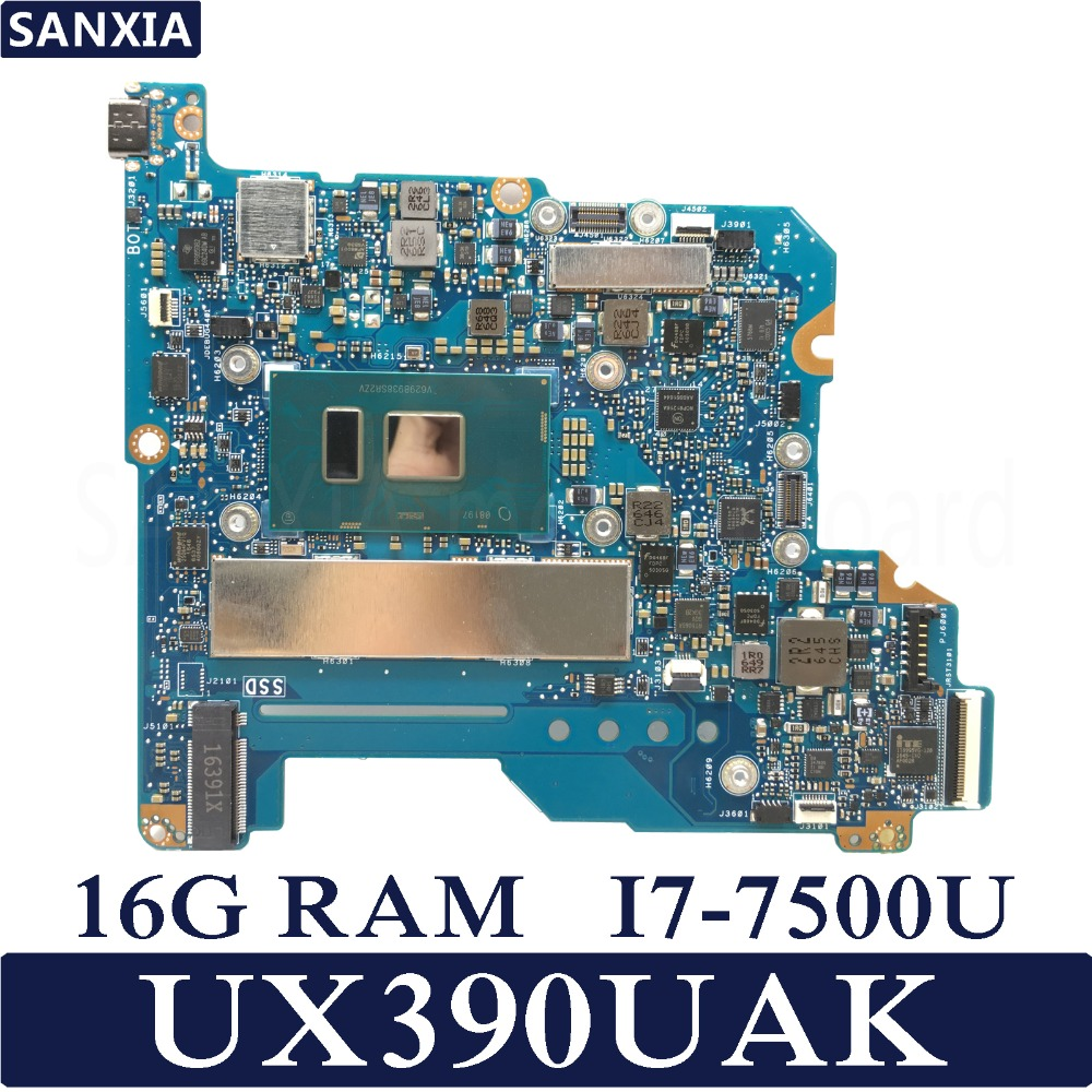 KEFU ZENBOOK UX390UAK Laptop motherboard for ASUS UX390UAK UX390UA UX390U UX390 Test original mainboard 16G RAM I7-7500U jp japan keybord for asus zenbook ux390 ux390ua with backlit keyboard jp layout
