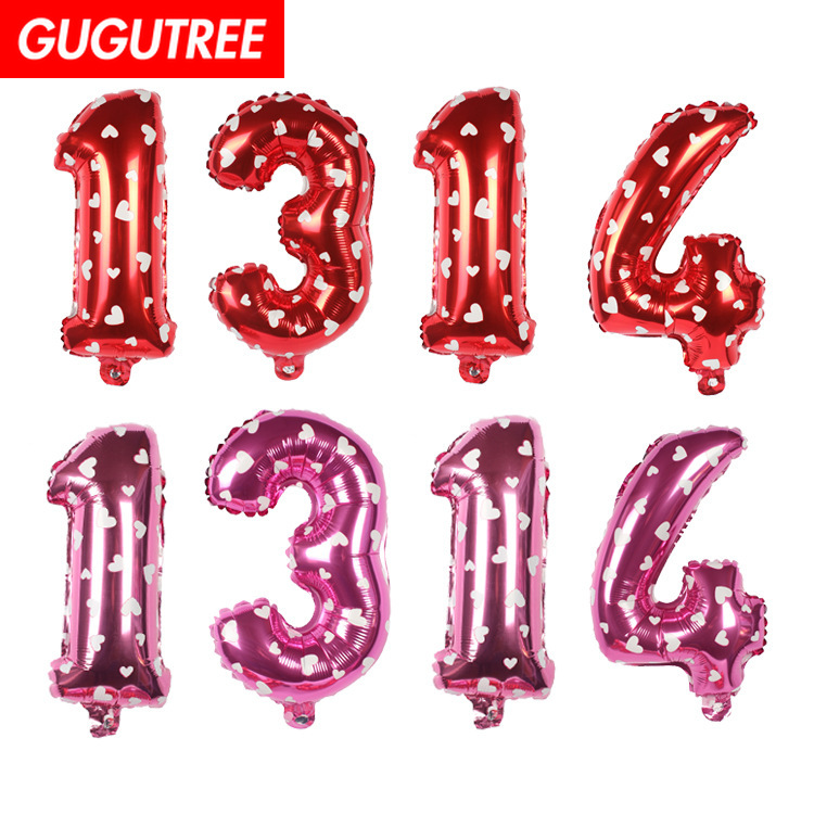 Decoration 16inch pink red number 1 3 1 4 foil balloons wedding event christmas halloween festival birthday party HY 313 in Ballons Accessories from Home Garden