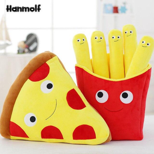 Emoji Pizza Slice Potato Chips Food Pillow Plush Stuffed Food Toy