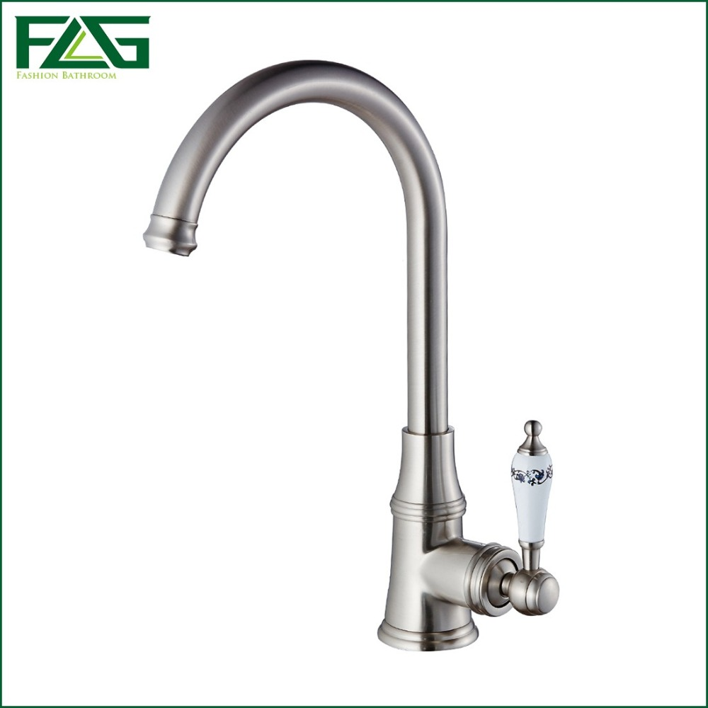 home office tools white kitchen faucet promotion white kitchen faucet FLG Kitchen Faucet Single Lever White Painted Flower Porcelain Deck Mounted Brushed Nickel Faucet Water Tap Kitchen Mixer
