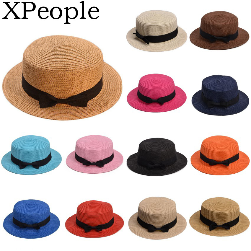 XPeople Womens Mini Straw Boater Hat Fedora Panama Flat Top Ribbon Summer Children Girls Straw Bowler Derby Hat