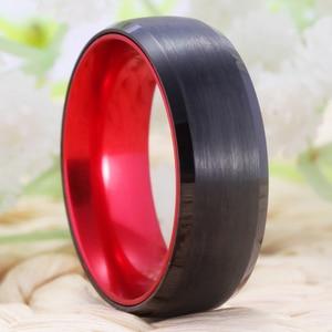 Image 4 - קלאסי חתונה לנשים גברים של טונגסטן טבעת טונגסטן השחור עם אדום אלומיניום אירוסין טבעת משלוח חריטת טבעת
