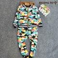 3-4 años de Muchacho camuflaje suites zipper cardigan niños de la impresión de algodón de manga larga conjunto primavera y el otoño de dos traje de una pieza 1225