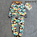 3-4 years Boy camouflage suites long sleeve cotton zipper cardigan printing children set spring and autumn two-piece suit 1225