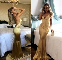 Vestidos de fiesta Silk like Satin Mermaid Prom Dress Sexy Backless Gold Prom Dresses 2018 Sweep Train Avondjurken gala jurken