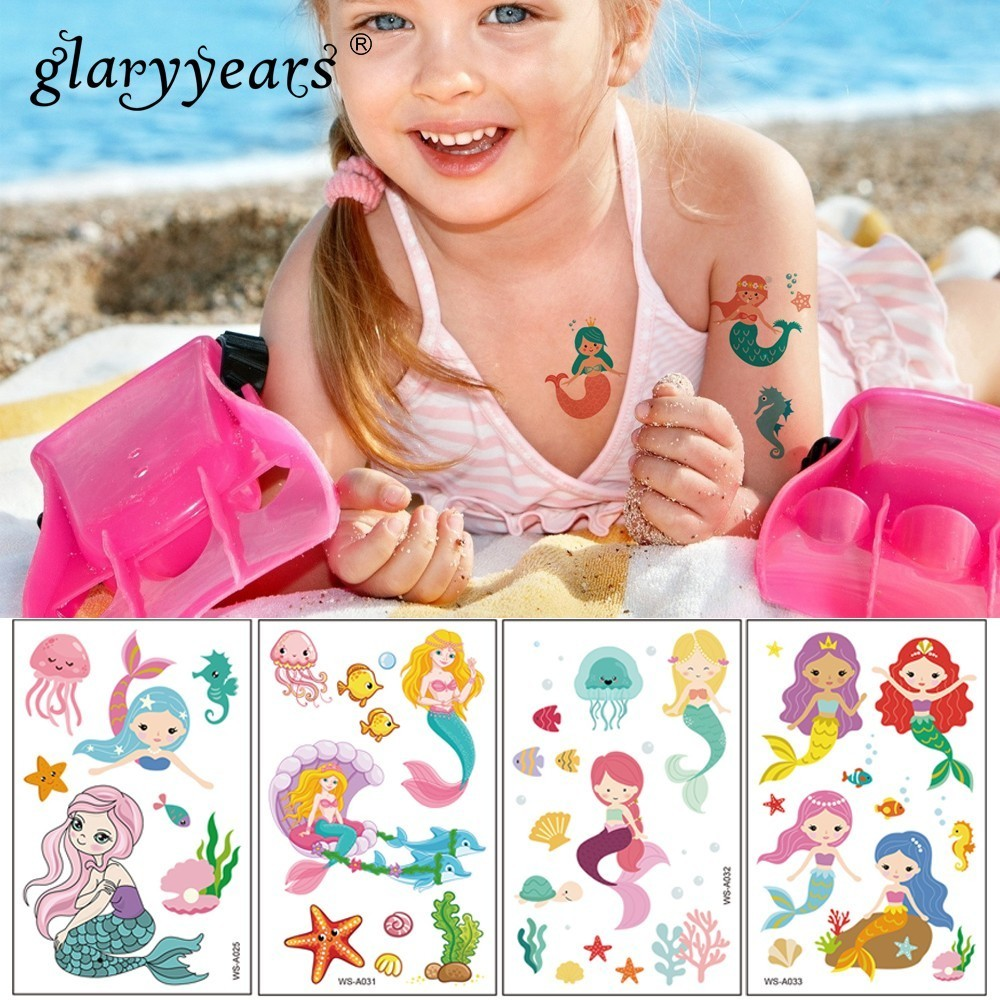 Glaryyears 1 Pc 10.5*6cm Temporary Tattoo Sticker Fashion Fake Tatoo Mermaid Flash Tatto Waterproof Small Body Art For Children