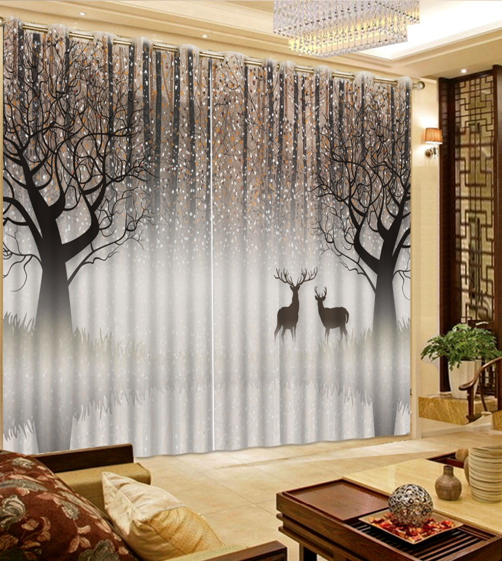 Curtains For Window Living Room Abstract Woods Deer Modern