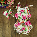 Menina roupa do bebê recém-nascido romper floral Ruffled Flor Macacão de Bebê Menina Trajes Do Bebê Definir a roupa Dos Miúdos