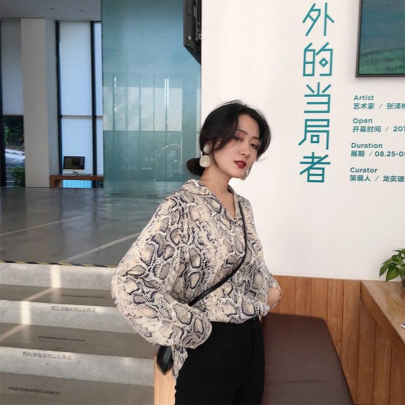 Básica Chic Otoño Ropa Mujeres Casual Larga Blusa Blusas Impresión Vintage Manga Damas De Tops Camisa Serpiente Las Mujer rOrPA