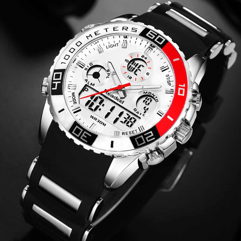 Readeel de los hombres de la marca de relojes deportivos 2 tiempo zona de hombre de moda reloj de cuarzo digital relogio masculino reloj hombre