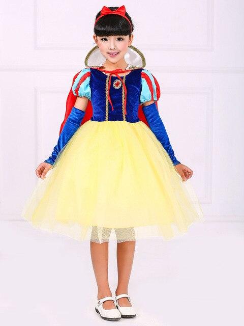 Мода высокого качества deguisement принцессы хэллоуин малыш снег белый костюм для девочек