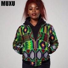 MUXU women coats and jackets African vintage fashion jacket print zipper womens clothing long sleeve streetwear
