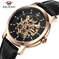 AILANG Brand Men's Automatic Mechanical Watch men Hollow Super Thin Business Watches Fashion Casual Leather Strap Wristwatches