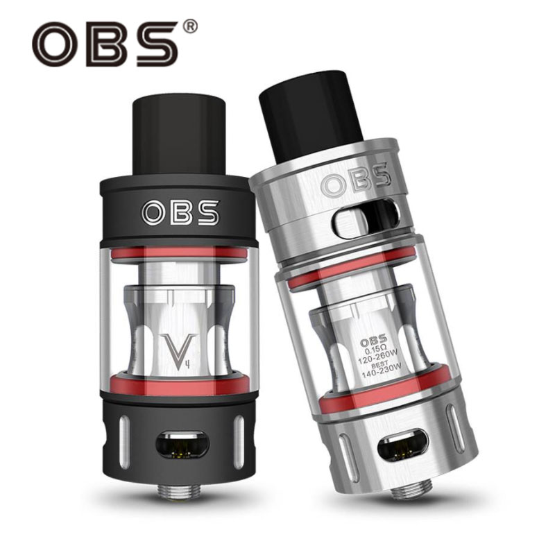 100% Original OBS V Tank 6ml Capacity OBS V tank Atomizer Electronic Cigarette Vapor Side Filling with V Tank V4 V8 V12 OCC coil