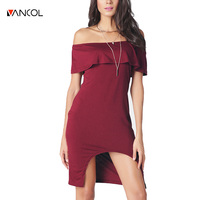 vancol slash neck Irregular dresses black midi off shoulder women ruffles party bandage dress red sexy summer dress for ladies