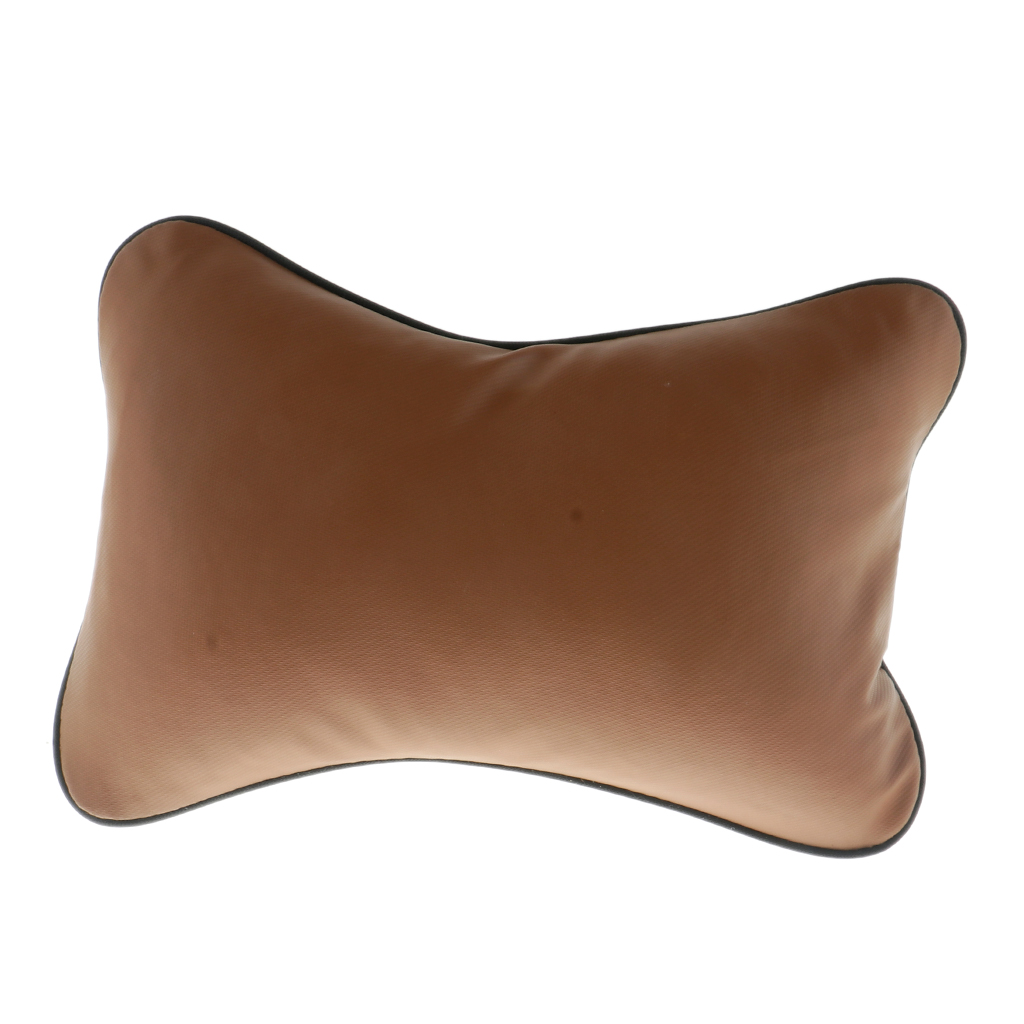 1 Pc Artifical Leather Car Neck Pillow Memory Foam Head Rest Support Travel Airplane Cushion Relax Headrest Coffee A-style