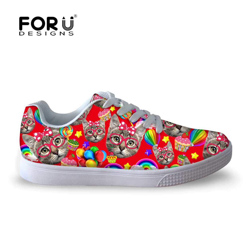 ФОТО FORUDESIGNS Casual Women Shoes Cute Kitty Cat Monkey Flat Walking Shoes for Lady Trend Breathable Women Street Board Shoes