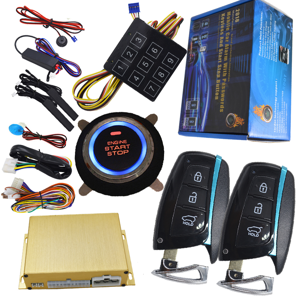 smart key car alarm system working with chip key bypass module shock sensor alarm or side door alarm engine start stop alarm easyguard pke car alarm system remote engine start stop shock sensor push button start stop window rise up automatically