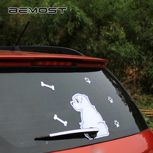 BEMOST DIY Auto Accessories Cartoon Animals Funny Dog Moving Tail Stickers Car Window Wiper Decals Styling