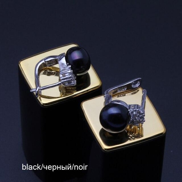 925 orecchini dell'argento sterlina con la perla, reale nero d'acqua dolce naturale orecchini di perle donne, clip su orecchini