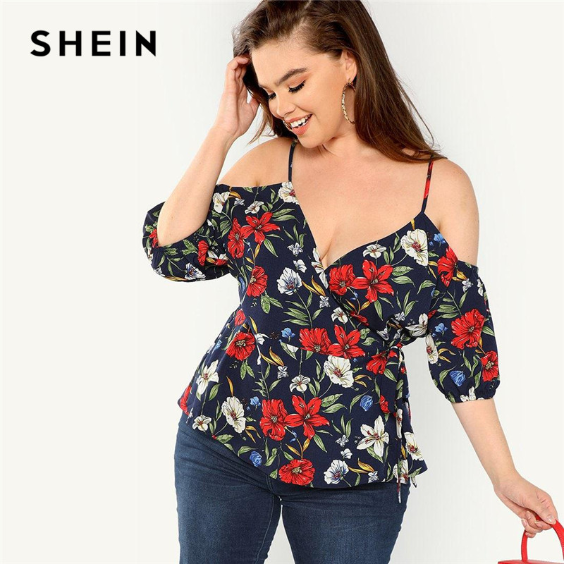 SHEIN Sexy Cold Shoulder V Neck Belted Women Plus Size Boho Cami Floral Blouses Summer Beach Vacation Spaghetti Strap Top Blouse