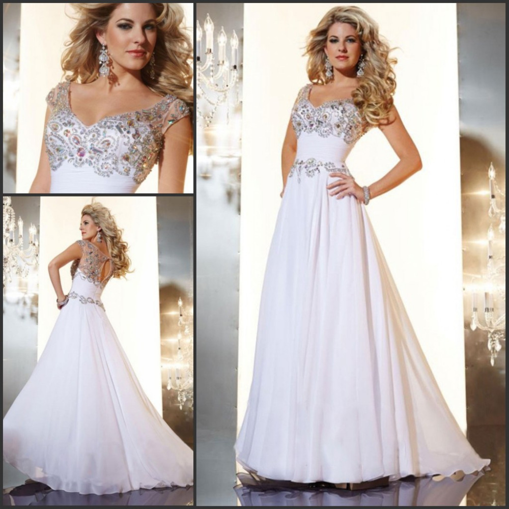 2015 Crystal Beaded Prom Dress Long White Evening Dresses Chiffon abendkleider vestido de baile Cap Sleeve Line Scoop - Weddings & Events Collection store