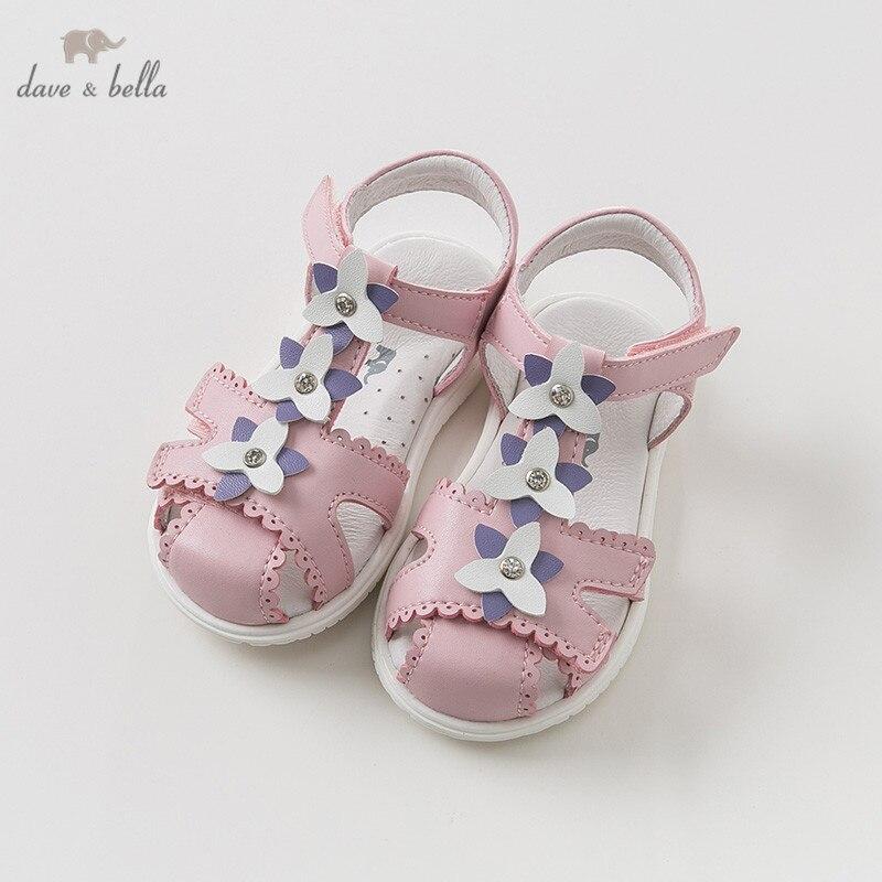 DB10451 Dave Bella été bébé fille sandales nouveau-né infantile chaussures fille rose sandales princesse chaussures floral