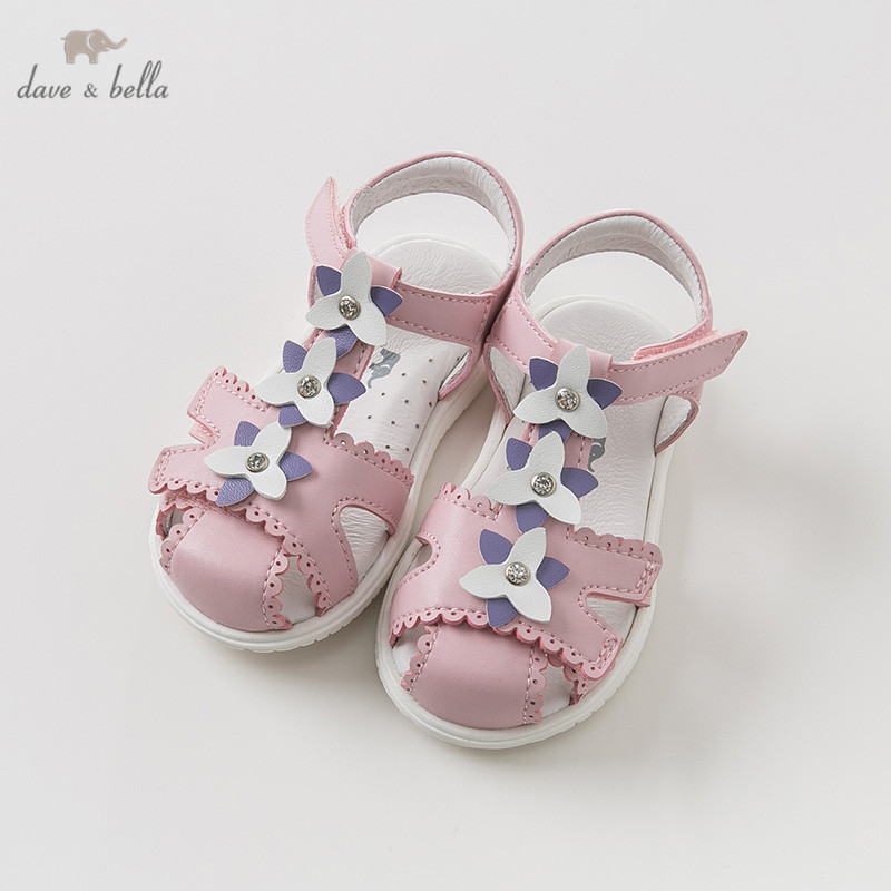 DB10451 Dave Bella Summer Baby Girl Sandals New Born  Infant Shoes Girl Pink Sandals Princesss Shoes Floral