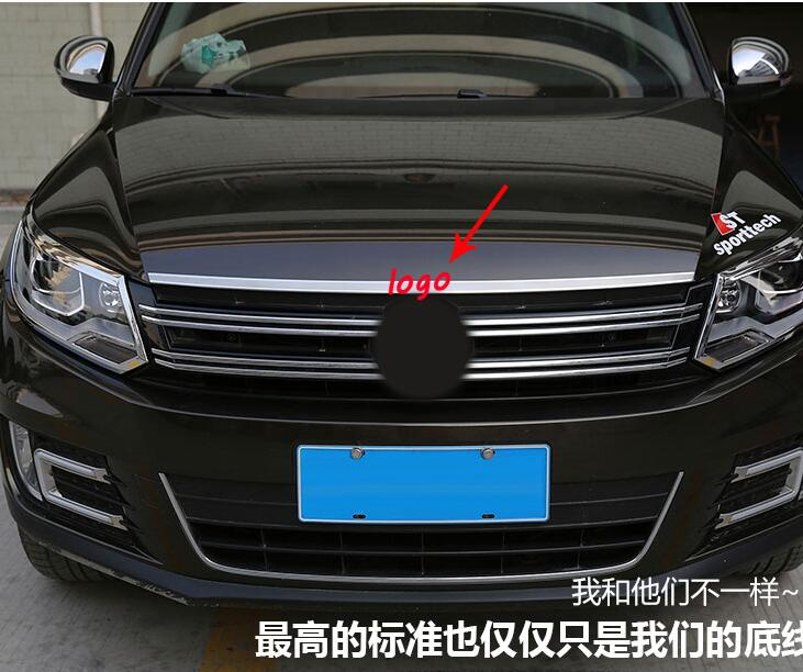 For Volkswagon VW Tiguan 2015 2014 2013 2012 2011 2010 stainless steel Front hood lid Grille upper Cover moulding sill 1pcs stainless steel front bonnet machine cover molding trim 1pcs fit for vw volkswagen tiguan 2010 2011 2012 2013 2014 2015 2016