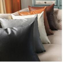 419efe1a7 Couro PU cor sólida simples estilo Europeu sofá capas de almofada pillow  tampa lichia padrão fronha