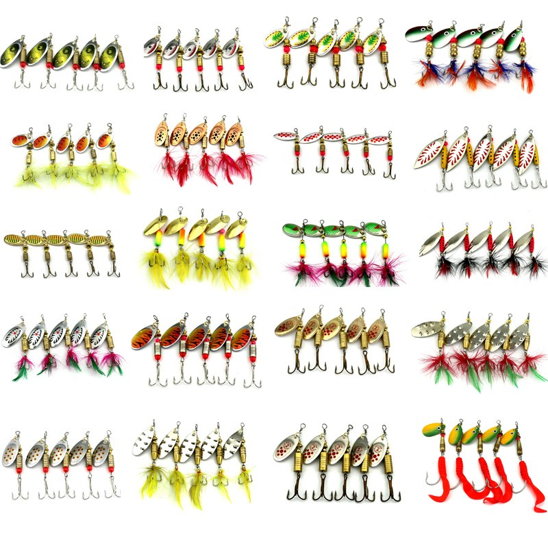 HENGJIA 10pcs Mixed size Metal Sequin Spinnerbait Fishing Lure Spoon Bait Fishing Tackle 20 kinds pesca peche japan lure fishing