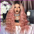 8A Fasion dark to pink ombre Full Lace Human Hair Wigs baby hair Lace Front Human Hair Wigs two tone ombre wigs Fast shipping