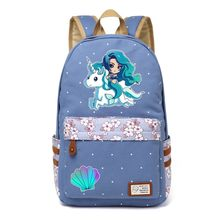 f7799f947a1 WISHOT Mermaid rugzak Bloemen Canvas tas Meisjes School travel Schoudertas  mooie Mooie cartoon Mermaid Prinses eenhoorn