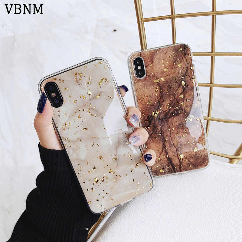 8b0505e5a3d Luxury Gold Foil Bling Marble Phone Case For iPhone X XS Max XR Soft TPU  Cover