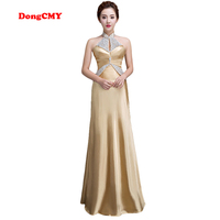 2014 New Fashion Long Design Halter Neck Formal Party Evening Dress