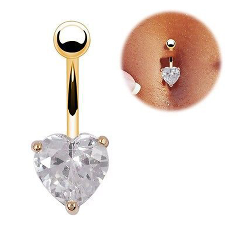 Gold Color plated White Rhinestone Crystal Heart 316L Stainless Steel Navel Belly Bar Button Ring Body Piercing Jewelry