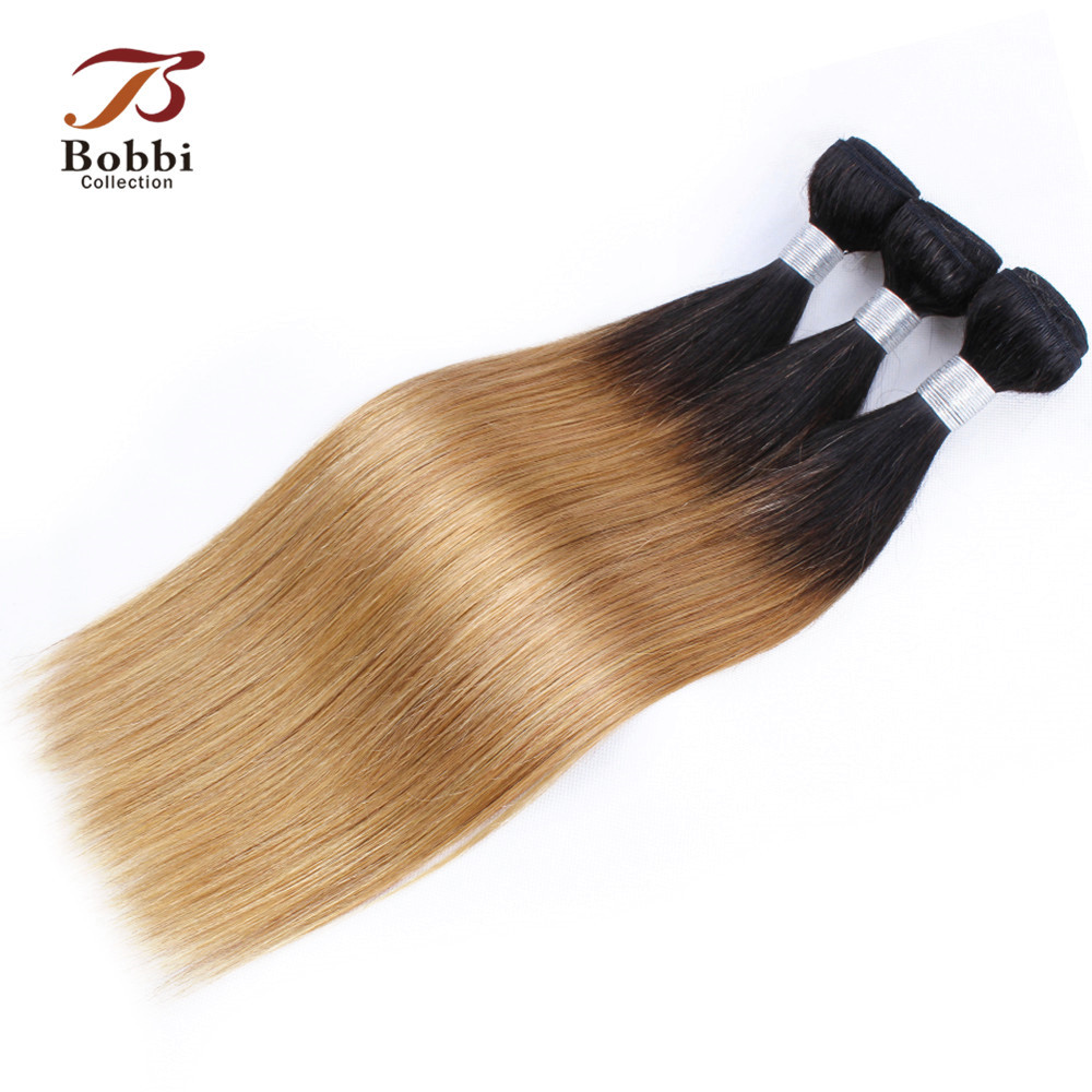 Bobbi Collection Indian Straight Hair 2/3 Bundles T 1B 27 Ombre Honey Blonde Bundles Remy Human Hair Weave Extension 10-24 inch