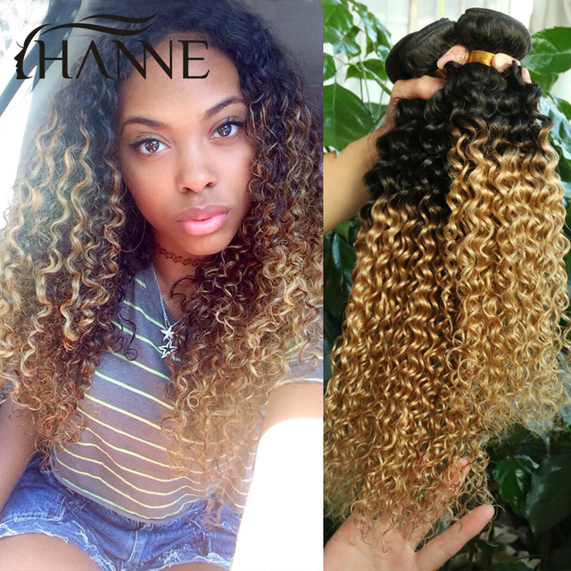 3 Bundles Short Weave Hair Mongolian Afro Kinky Curly Hair Two Tone