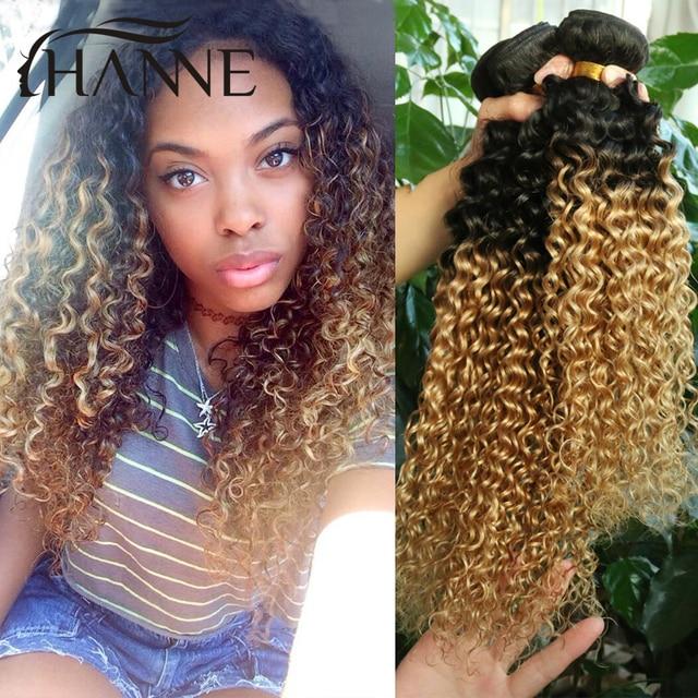 Bundles Short Weave Hair Mongolian Afro Kinky Curly Hair Two Tone B Blonde