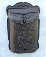 Caixa de correio de ferro fundido pesado metal ferro forjado letras decorativas post box para jornais casa apartamento jardim decoração