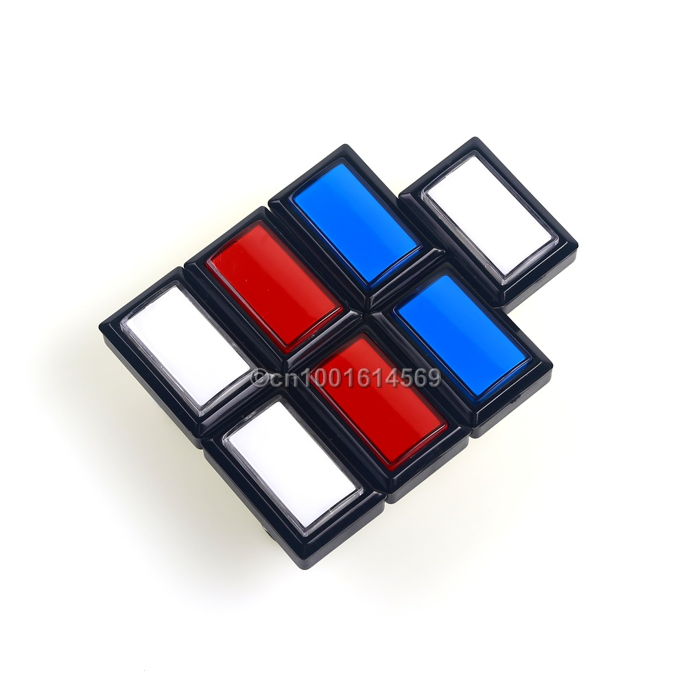 Easyget 7 x Beatmania Iidx LED Illuminated Rectangular Arcade Push Button 50mm*33mm With Microswitches For Mame Cabinet & Jamma
