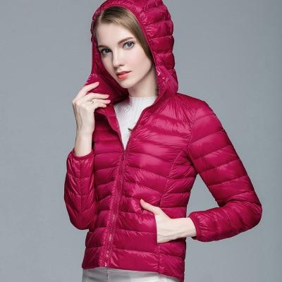 Складываемая женская зимняя куртка с длинным рукавом, однотонное женское теплое пуховое пальто, Новое Женское зимнее пальто с капюшоном Casaco Feminino - Цвет: Rose red