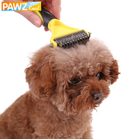 PAWZRoad Professional Pet Double Side Fur Dog Brush Comb Cat Rake Grooming Shedding Trimmer Tool Clean