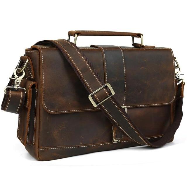 2c82c19cace TIDING Genuine Cowhide Leather Men Messenger Bag Retro Handbag Business  Briefcase Crazy Horse Leather Shoulder Bag Crossbody Bag