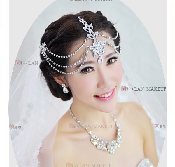 Silver Plated Crystal Indian Hair Accessories Head Jewelry Rhinestone Forehead Pieces Wedding Tiaras Bridal