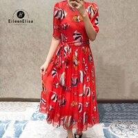 Summer Fish Printed Dresses Women 2018 Short Sleeve Dresses Lady Long Dresses With Bow Tie Elegant