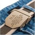 2016 hombres de la correa militar de lona deportes de la moda de alta calidad jeans cinturones de hebilla de metal al aire libre para los hombres Del Ejército Verde negro 110 120 cm