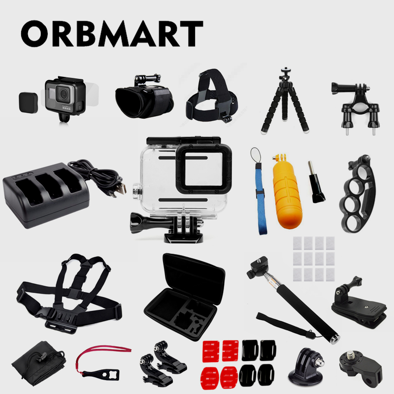 ORBMART 22 en 1 Action Sport caméra accessoires étanche boîtier protecteur d'écran Kit de montage pour Go Pro Gopro Hero 5 6 7 noir